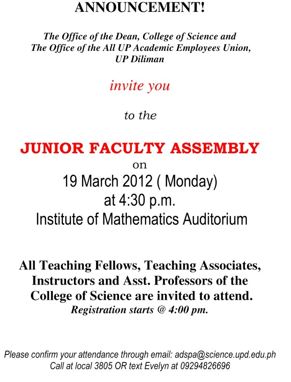 Microsoft Word - ANNOUNCEMENT-JR faculty assembly